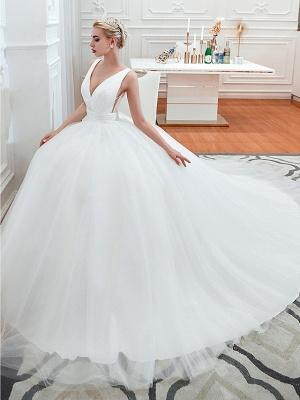 Schlichte Hochzeitskleid V Ausschnitt | Brautmoden A Linie_8