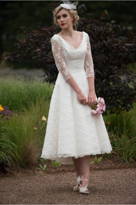 Chic Wedding Dresses Short With Sleeves | Wedding dresses lace A line_2