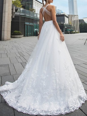 Brautkleider V Ausschnitt | Hochzeitskleid Mit Spitze A Linie_2