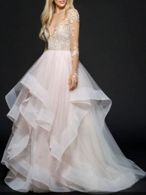 Designer Brautkleider mit Spitzerärmel | Tülle Hochzeitskleid A Linie_1