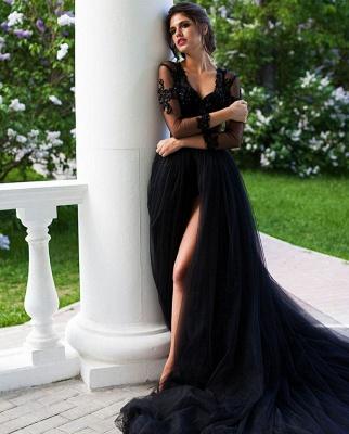 Schöne Abendkleider Lang Schwarz | Abendmoden mit Spitzeärmel_4