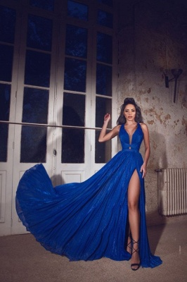 Simple evening dresses long blue | Evening wear V neckline_2