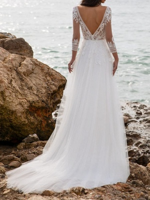 Fashion wedding dresses with sleeves | Sheath dresses wedding dresses with lace_3