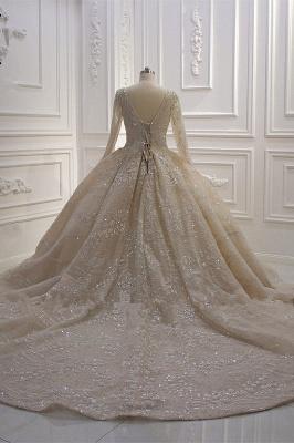 Extravagante Hochzeitskleider Prinzessin Glitzer | Brautmoden Mit Ärmel_6