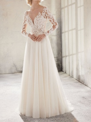 Elegant wedding dresses with sleeves | Lace Wedding Dresses Online_1
