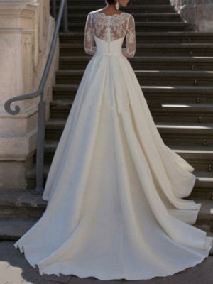 Elegant wedding dresses with sleeves | A line wedding dresses lace_2