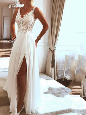 Simple wedding dresses with lace | Sheath dresses bridal online_1
