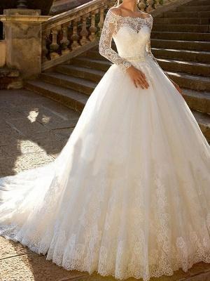 Luxus Brautkleider mit Ärmel | A Linie Hochzeitskleid Spitze_4