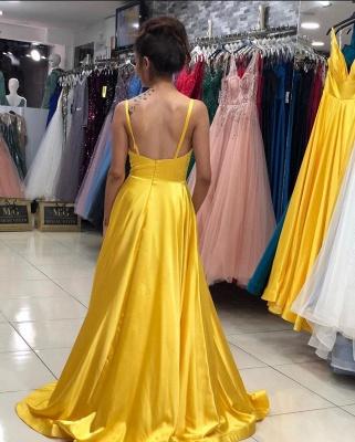 Evening dresses plain yellow | Long evening dress with V neckline_3