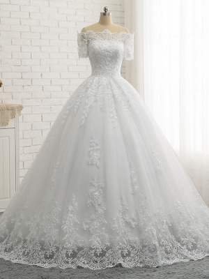 Beautiful wedding dresses short sleeves | Bridal A line with lace_4