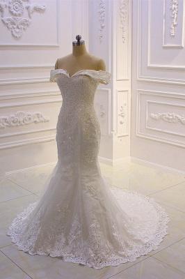 Schöne Hochzeitskleider A Linie Spitze | Brautkleider Cream_6
