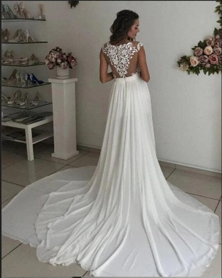 Simple wedding dress with lace | Chiffon summer wedding dresses cheap_2
