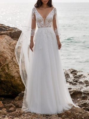 Fashion wedding dresses with sleeves | Sheath dresses wedding dresses with lace_1