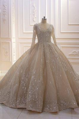 Extravagante Hochzeitskleider Prinzessin Glitzer | Brautmoden Mit Ärmel