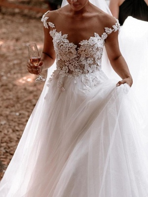 Designer wedding dresses with lace | Wedding dresses tulle cheap online_3