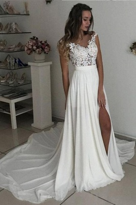 Simple wedding dress with lace | Chiffon summer wedding dresses cheap_1