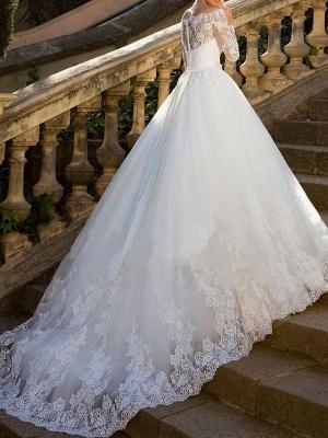 Luxus Brautkleider mit Ärmel | A Linie Hochzeitskleid Spitze_3