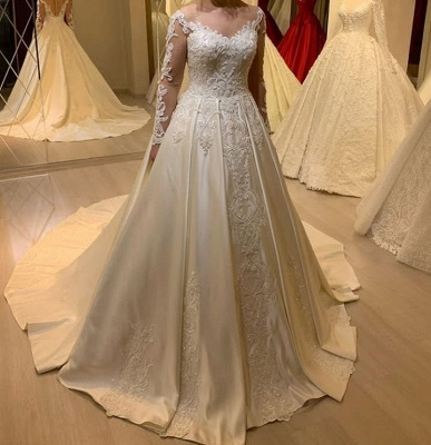 Simple wedding dresses A line | Wedding dresses with sleeves_2