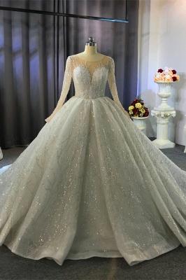 Extravagante Brautkleider Prinzessin | Hochzeitskleider Glitzer mit Ärmel
