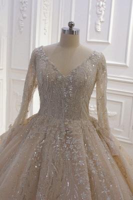 Extravagante Hochzeitskleider Prinzessin Glitzer | Brautmoden Mit Ärmel_4