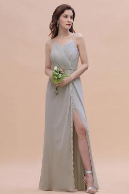Siber Brautjungfernkleider Lang Chiffon | Schlichtes Abendkleid_4