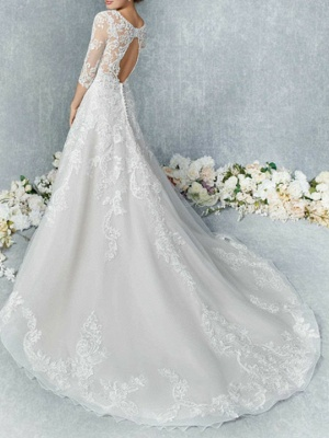 Vintage Brautkleider A Linie | Hochzeitskleid Spitzelärmel_3