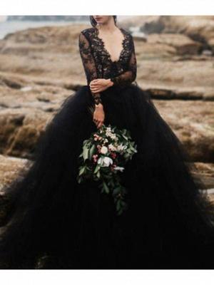 Schwarze Hochzeitskleider mit Ärmel | Spitze Brautkleid Online_1