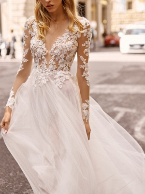 Vintage wedding dresses with sleeves | Sheath dresses lace wedding dress_3