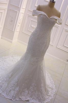 Schöne Hochzeitskleider A Linie Spitze | Brautkleider Cream_5
