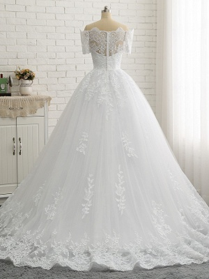 Beautiful wedding dresses short sleeves | Bridal A line with lace_6