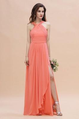 Brautjungfernkleider Lang Coral   Chiffon Kleider Brautjungfern_1