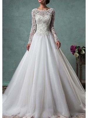 Wedding dresses A line | Gorgeous wedding dresses lace sleeves_1