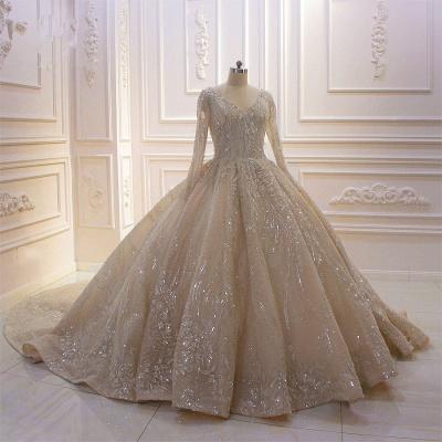 Extravagante Hochzeitskleider Prinzessin Glitzer | Brautmoden Mit Ärmel_2