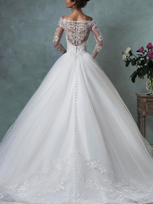 Designer wedding dresses A line | Lace wedding dress with sleeves_2