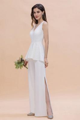 Weiße Brautjungfernkleider Lang Günstig Jumpsuit Chiffon Kleider_7