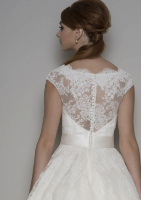 Modern wedding dresses short | A line wedding dresses with lace_2