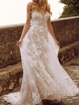 Elegant wedding dresses A line | Wedding dresses with lace_1