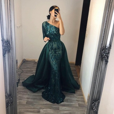 Elegant evening dresses long green | Prom dresses with glitter_3
