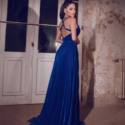 Simple evening dresses long blue | Evening wear V neckline_3