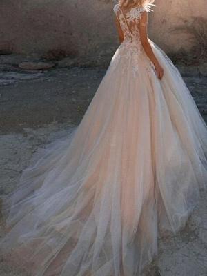 Blush Pink Wedding Dresses A Line | Vintage wedding dress with lace_2