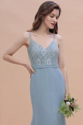 Steel Blue Brautjungfernkleider Lang Chiffon | Schlichtes Abendkleid_11