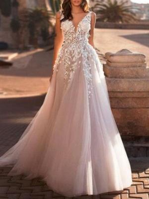 Designer Hochzeitskleider V Ausschnitt | Spitze Brautkleid A Linie_1