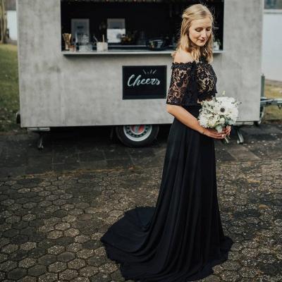 2 Teilige Brautkleid Schwarz | Hochzeitskleid Mit Spitzelärmel_3