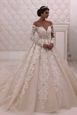 Designer wedding dress with sleeves | Wedding dresses A line with lace_1