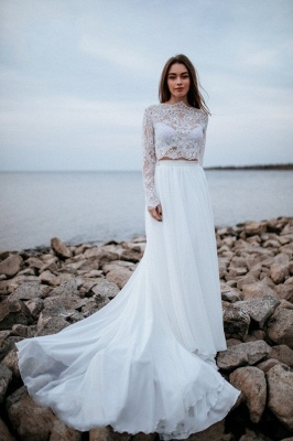 Designer wedding dresses with sleeves | Chiffon bridal wear with lace_1