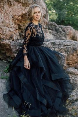 Schwarze Brautkleider mit Ärmel | A Linie Hochzeitskleider mit Spitze_5
