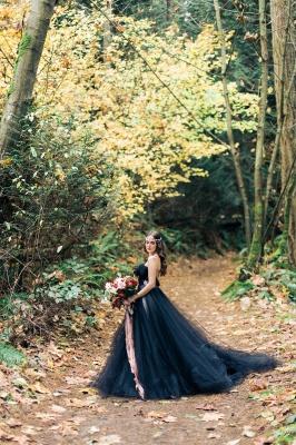 Black wedding dress A line | Tulle wedding dress cheap online_6