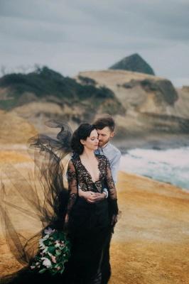 Schwarze Hochzeitskleider mit Ärmel | Spitze Brautkleid Online_6