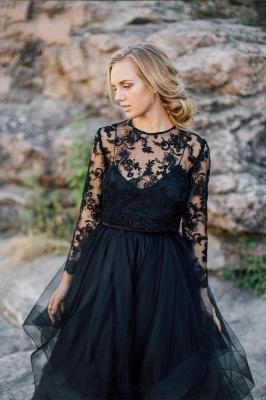 Schwarze Brautkleider mit Ärmel | A Linie Hochzeitskleider mit Spitze_3