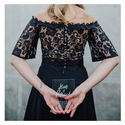 2 Teilige Brautkleid Schwarz | Hochzeitskleid Mit Spitzelärmel_2